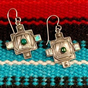 Sterling Four Directions Turquoise & MOP Earrings